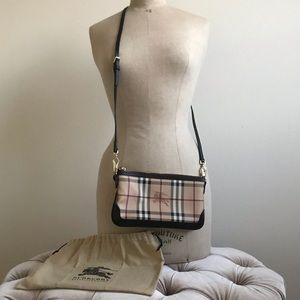 Burberry Haymarket Check Crossbody Bag Black
